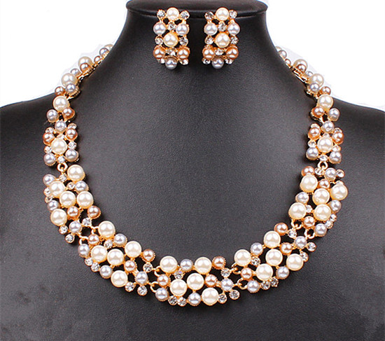 Gold Tone Luxury Gorgeous Wedding Jewelry Sets Tricolor Pearl