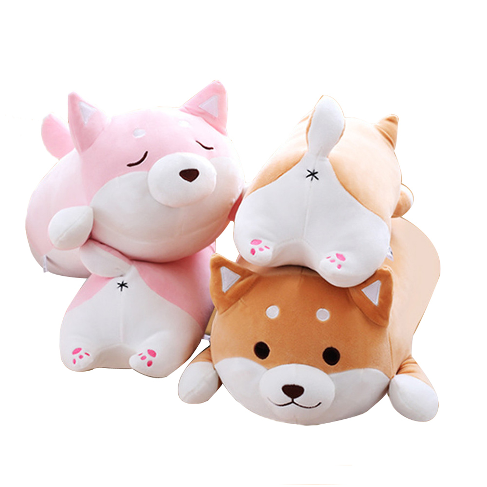 Fancytrader Giant Lying Animal Akita Plush Toy Pillow Stuffed Cartoon Anime Shiba Inu Dog Doll 58cm Present for Children qwz1pcs 25cm cute wear scarf shiba inu dog plush toy soft animal stuffed toy smile akita dog doll for lovers kids birthday gift