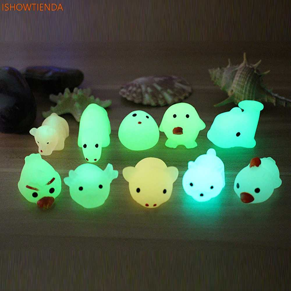 Cute Luminous Mochi Squishy Cat Squeeze Healing Fun Kids Kawaii Toy Stress Reliever Decor