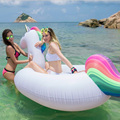 2.7*1.4*1.2m Inflatable Unicorn Pool Float Rainbow Tail Adult Kid Giant Ride On Summer Water Outdoor Toy Air Boat Piscina
