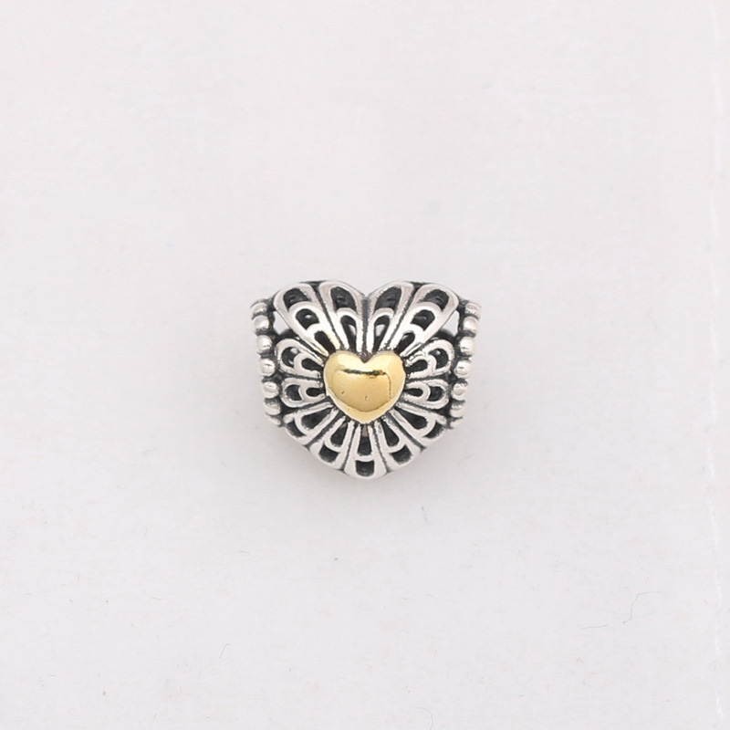 925 Sterling Silver Beads Charms Gold Heart Hollow Out Heart Beads Fit Women Original Pandora Charms Bracelet & Bangle