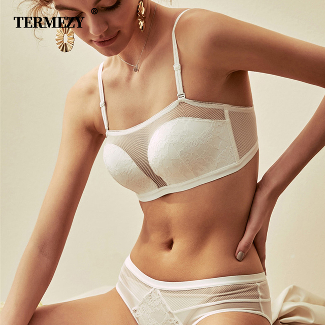 TERMEZY Sexy Lace Half Cup Bra Sets For Women Wireless Breathable Underwear Push up Bra Sexy Bra and Panty Sets White Lingerie
