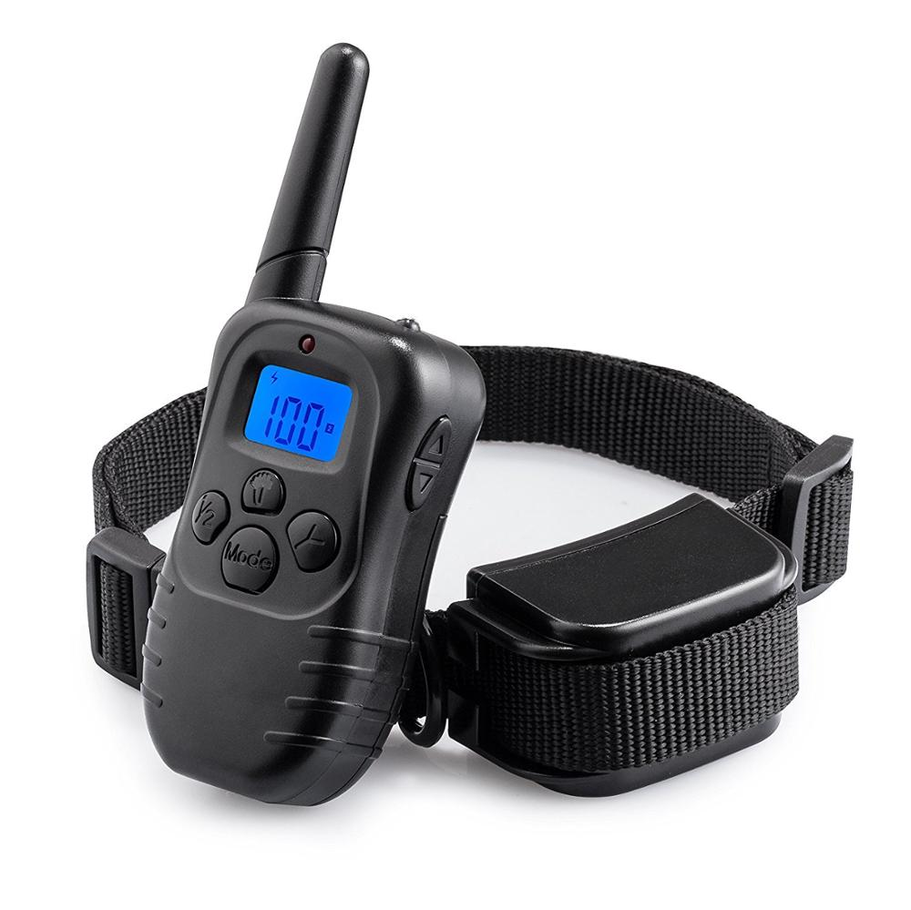 Pet Training Collar Rechargeable Electric LCD 100LV Shock Collar With Remote for Pets like Dogs US Plug Black collar perro in Bark Deterrents from Home Garden