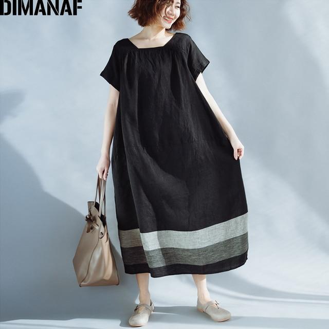 Dimanaf Women Summer Dress Plus Size Linen Vintage Black Female