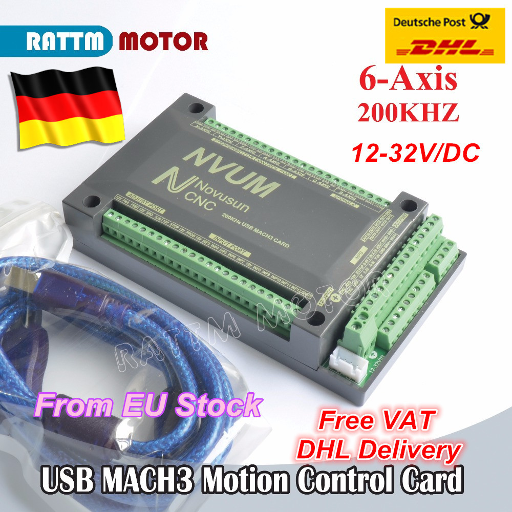 6 Axis 200KHZ NVUM MACH3 USB Motion Control Card CNC Controller for CNC Router Stepper Motor Servo motor from RATTM MOTOR cnc mach3 lpt port usb motion card controller for stepper motor engraving