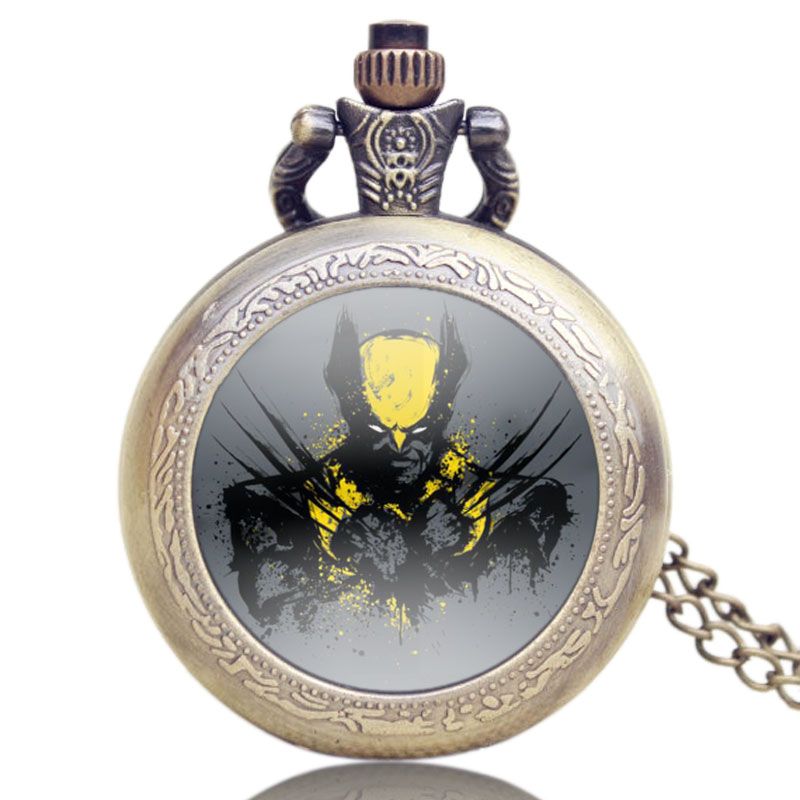 Hot Fashion Marvel Comics Theme X-Men Logan Pocket Watch With Chain Quartz Retro Watches Gift Jewelry Pendant Necklace antique retro bronze car truck pattern quartz pocket watch necklace pendant gift with chain for men and women gift
