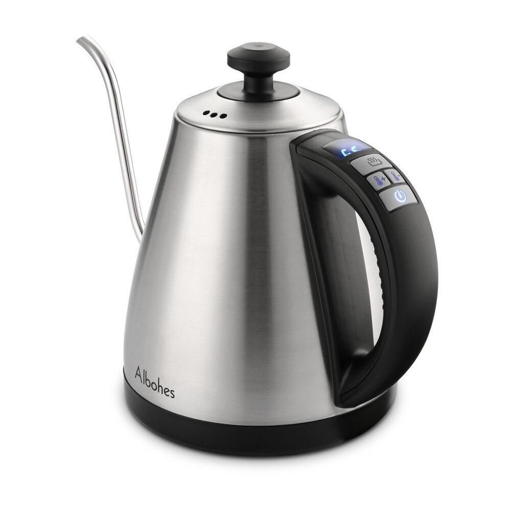 ALBOHES 1L Elektrische Wasser Wasserkocher 1000 watt Schwanenhals Elektrische Wasserkocher Edelstahl Wärme Erhaltung Für Drip Kaffee Tee UNS/ EU
