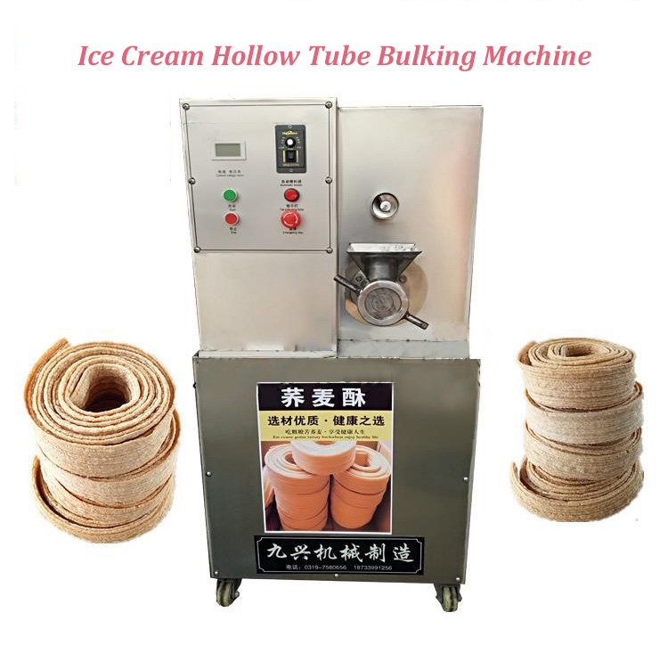 Flour Bulking Machine/ Ice Cream Hollow Tube Bulking Machine/ Commercial Bulking Machine/ Ice Cream Cone Making Machine square pan rolled fried ice cream making machine snack machinery