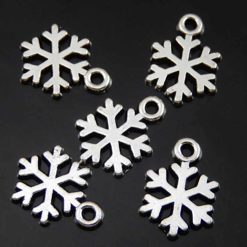 100PCS 14*10*1mm Antique Silver Alloy Snowflake Charms Pendant Jewelry Making l  Xmas Tree Hanging Decoration 50077