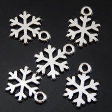100PCS 14*10*1mm Antique Silver Alloy Snowflake Charms Pendant Jewelry Making 50077