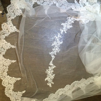 Ivory Beaded Chapel train Bridal veils vintage Wedding Accessories lace Edge Veil