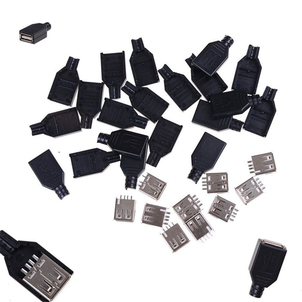 5Pcs USB2.0 Type-A Plug 4-pin female Adapter Connector jack/&Black Plastic Cover