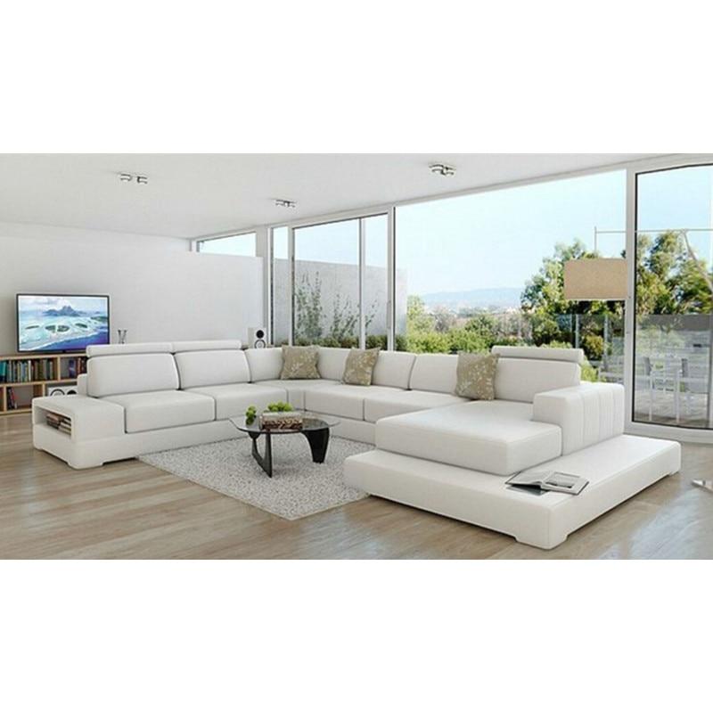 Genuine Leather Modern Sectional Sofa: U Shape Modern White Genuine Leather Sofa-in Living Room