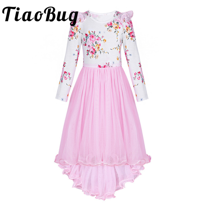 TiaoBug Kids Flower Girls Dress Floral Pageant Wedding Party Princess Birthday Summer Dress Girls Mesh First Communion Dress