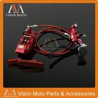 Front Brake System Brake Lever Master Cylinder Hose Big Caliper Adaptor For Honda CRF CR125 250