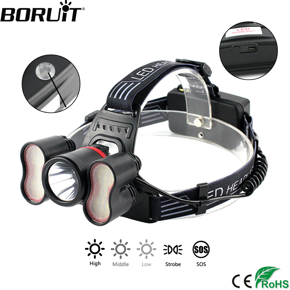 BORUiT 3000LM T6 2835SMD LED Induction Headlight Body Motion Sensor 5-Mode Headlamp Hunting Camping Flashlight by 18650 Battery