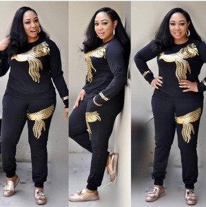 Image 2 - Afrika setleri kadınlar için yeni boncuk payetli afrika elastik Bazin dökümlü pantolon Rock tarzı Dashiki kollu ünlü Lady için Suit