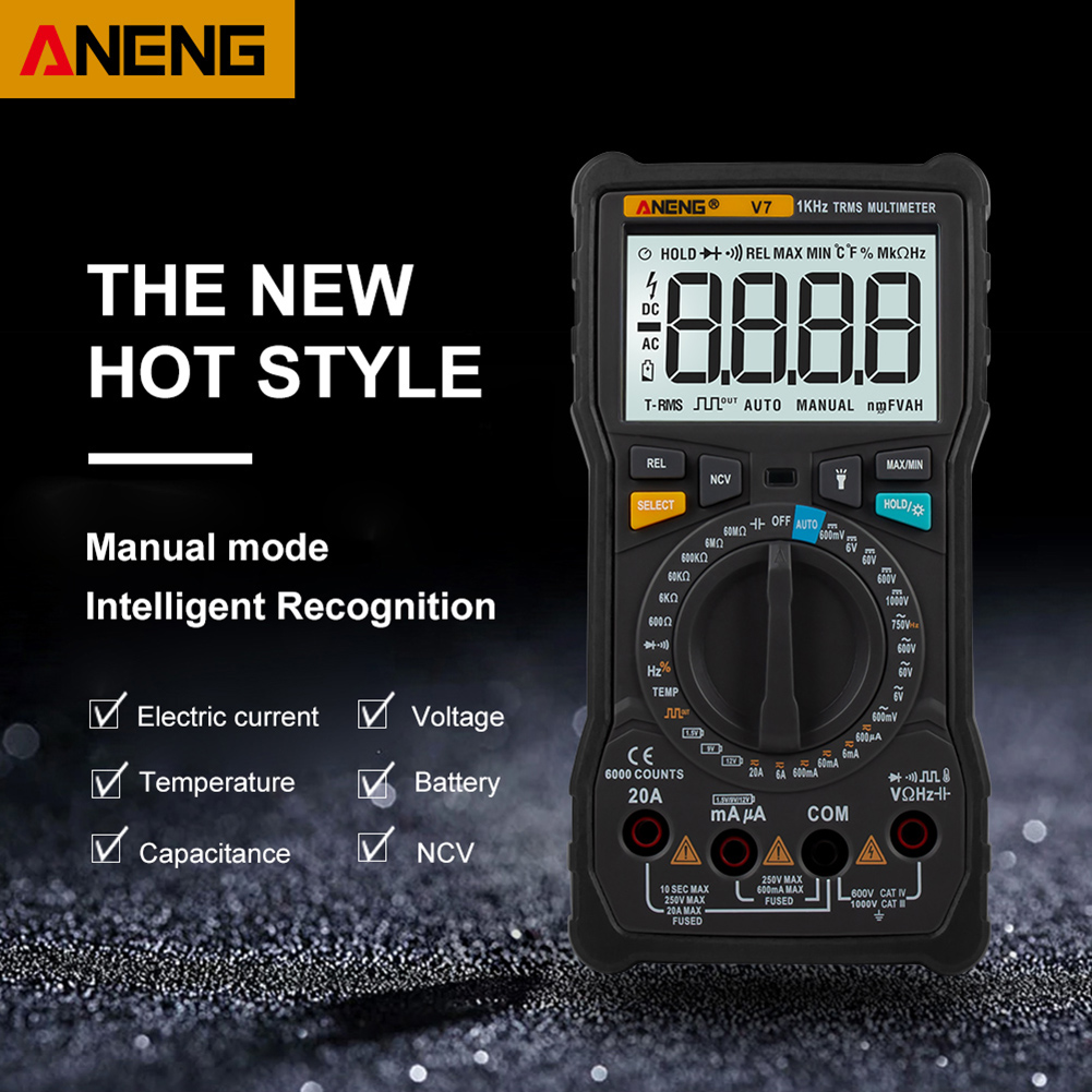 TRUE RMS 6000 Counts V7 Digital Multimeter Square Wave Voltage Resistance Battery Frequency Temperature Power Meter TestTRUE RMS 6000 Counts V7 Digital Multimeter Square Wave Voltage Resistance Battery Frequency Temperature Power Meter Test