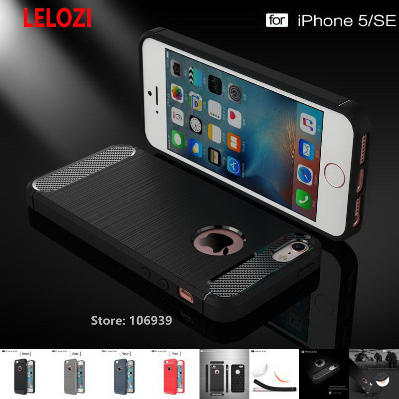 LELOZI Soft TPU Armor Rugged Carbon Fiber Brushed Men Phone Cell Coque Etui Case Cove cubierta fundas For iPhone 5 5s SE Navy ...