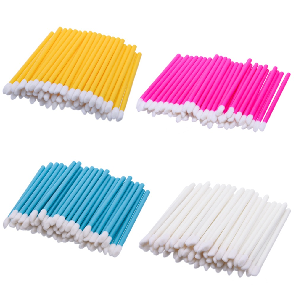 все цены на 50 Pcs Makeup brushes Cotton and plastic Disposable Lip Brush  Lip Brush Gloss Wands Applicator Makeup Cosmetic Tool Beauty онлайн