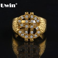 Warna Emas Stainless Steel Tanda Dolar Ring Hiphop Rock Style Clear Batu Bling Ring Pesona Fashion Pria Rapper Perhiasan(China)