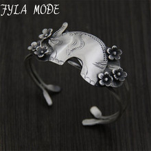 Fyla Mode 999 Silver Fashion Flower Accessories Jewelry Elephant Carved Bracelet Bangle for Women Lovers'Gift 35mm 41G TYC107