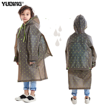 Yuding Plastic Children Raincoat Outdoors Hooded Kindergarten Boys Kids Impermeable Poncho Schoolbag Rain Coat for