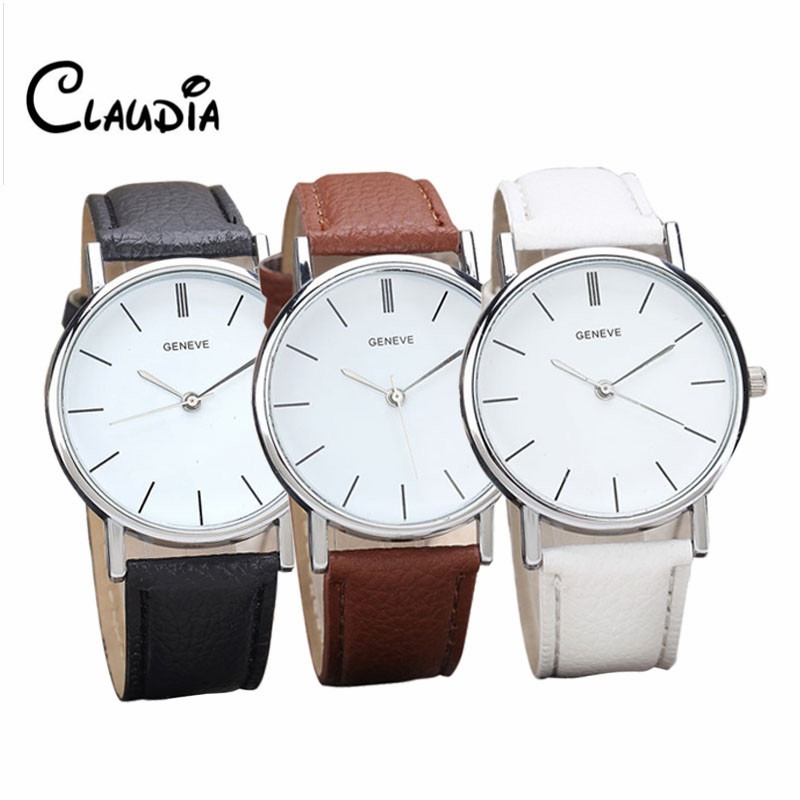 CLAUDIA Watches Women Men Elegant Clock Fashion Analog Quartz Watch PU Leather Unisex Wrist Dress Watches Relogio Masculino lvpai wathces women relogio feminino elegant dress clock retro design pu leather band analog quartz wrist watch