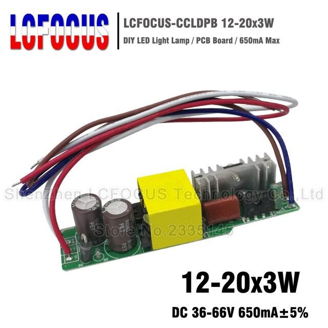 2 piezas 12-20x3W Controlador LED 650mA 36-66 V 36 V 45 48 54 60 W Watt iluminación transformadores para 36 W 45 W 48 W 54 W 60 W Luz de bulbo de la lámpara