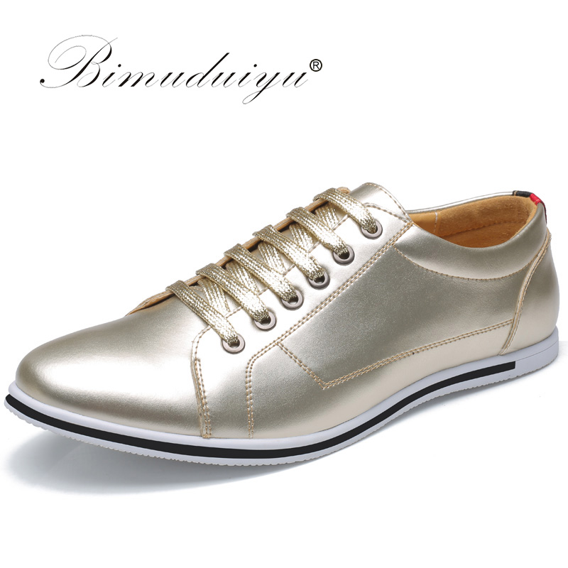 BIMUDUIYU Brand High Quality Male Casual Shoes Plus size 38-49 Leisure Leather Shoes Breathable Fashion Lace Up Flat Shoes Men