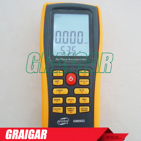 FREE SHIPPING Air Flow Anemometer Wind Speed GM8902 range: 0.3~45m/s free shipping gm8901 45m s 88mph lcd digital hand held wind speed gauge meter measure anemometer thermometer