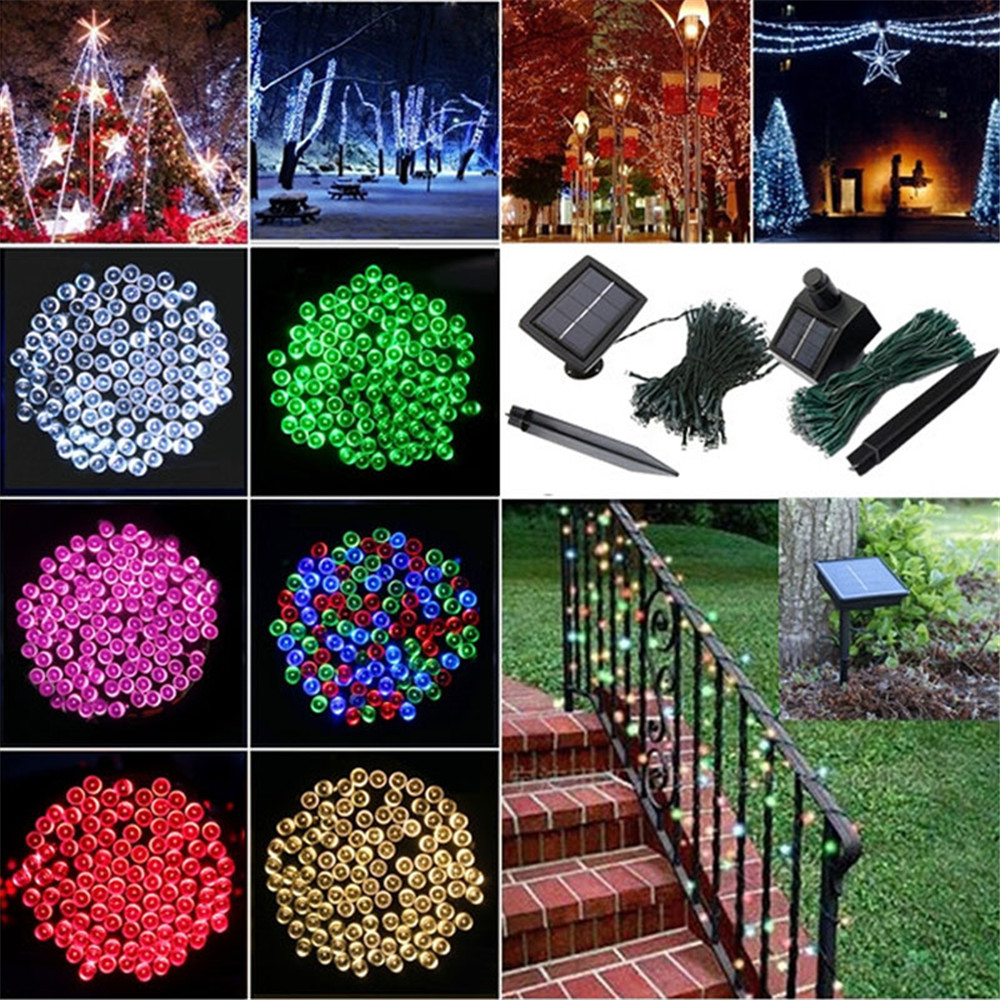 high quality 20m 200 led solar powered copper wire string fairy light xmas party decor with rechargeable battery