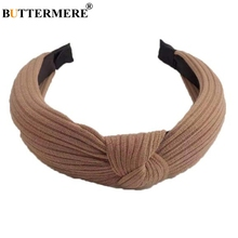 BUTTERMERE Hair Bands For Women Cross Knot Female Accessories Fashion Khaki Pink Black Army Green Ladies Solid Headwear