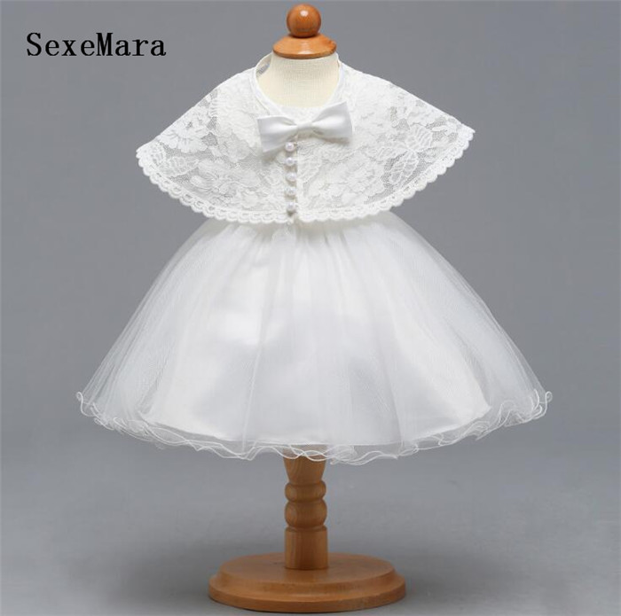 Newborn Cute White Baptism Dress For Baby Girl First Birthday Party Wear Toddler Girl Christening Gown Christmas Dress