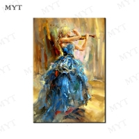 MYT Free Shipping The Beauty Plays The Violin Hand Made Oil Painting On Canvas Abstract Modern Canvas Wall Art Pictures