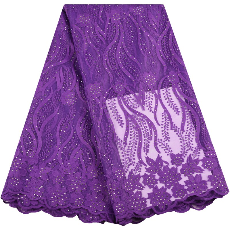 Purple 2019 Latest African Lace Fabric High Quality French Milk Lace Fabric Stones Nigerian Milk Silk