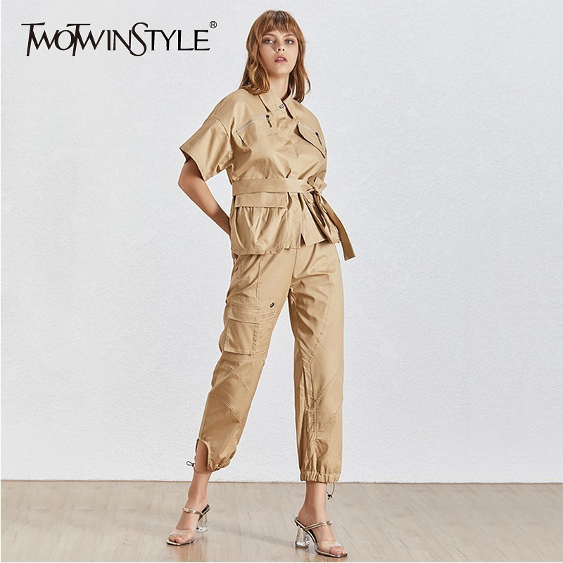 TWOTWINSTYLE Casual Khaki Women Two Piece Set Lapel Short Sleeve Bandage Shirt High Waist Pockets Pants Female Suit Fashion 2019