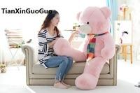 stuffed plush toy huge 150cm pink teddy bear plush toy scarf bear soft doll hugging pillow birthday gift w2938