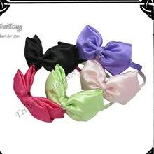 Оптовая продажа 12 шт/лот повязка для волос с бантом новый атласный