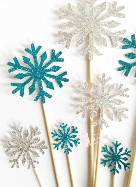 New 10pcs White Blue Snowflakes Cake toppers Birthday Wedding Party ...