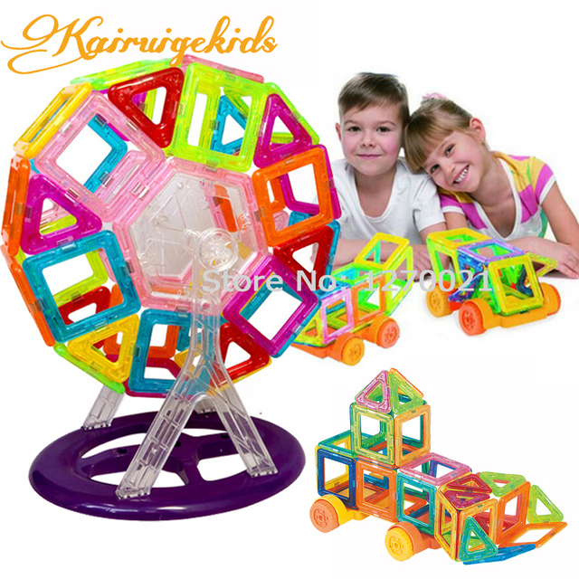 90 Шт./лот Мини Магнитного Строительные Блоки Модели и Строительство Игрушки Магнитные Пластиковые Кирпичи Детские Игрушки Enlighten Блок Магнитный Конструктор