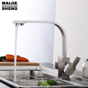 kitchen faucet 3 way function filler Kitchen Faucet Dual function 3 way water filter square kitchen faucet marble pure water