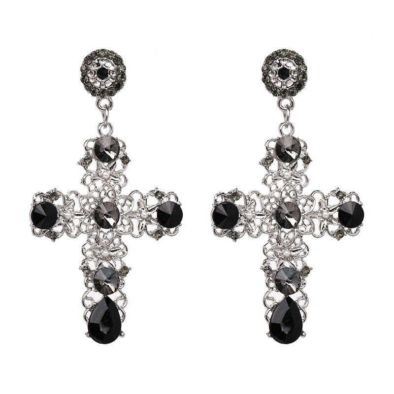 2017 New Arrival Vintage Black Crystal Cross Drop Earrings For Women Pink Baroque Bohemian Large Long Jewelry Brincos In From
