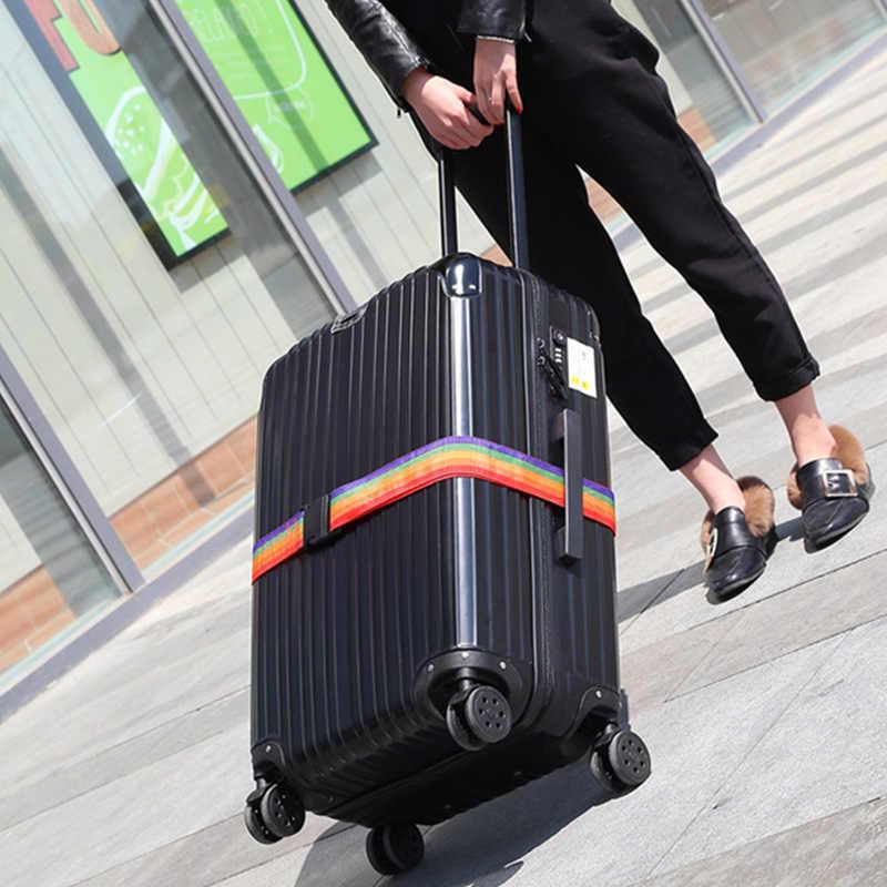 Nylon regulowany pas bagażowy paski do bagażu blokada hasła walizka pas do pakowania zabezpieczenie przed kradzieżą lina bagażowa akcesoria podróżne