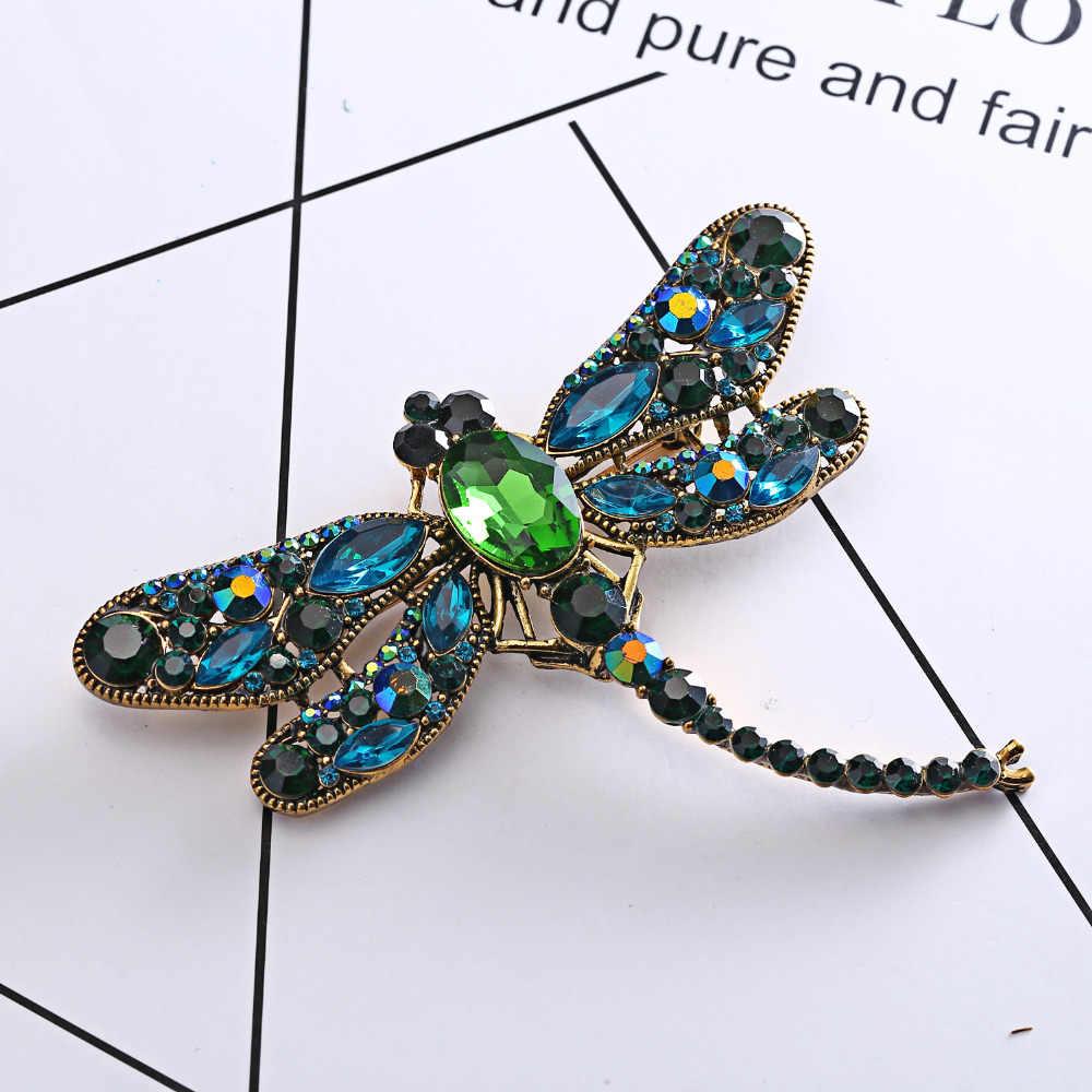 Rinhoo Batu Alam Bunga Manik-manik Kristal Daun Kucing Bros Vintage Kerah Pernikahan Aksesoris Perhiasan Bros untuk Wanita