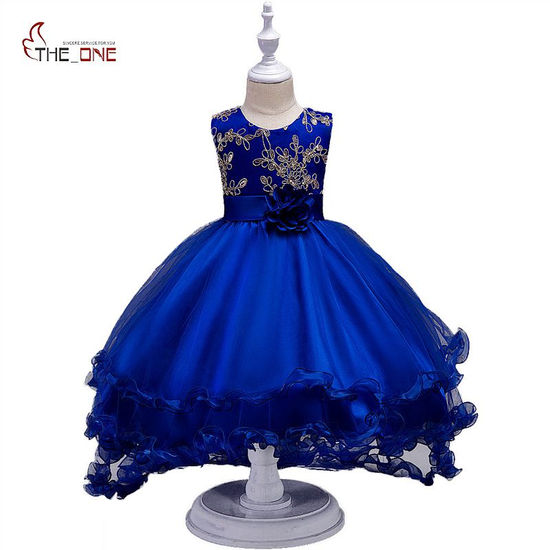 MUABABY Girls Trailing Dress Summer Flower Sequined Girl Princess Party Wedding Dresses Children Kids Ball Gown Birthday Costume flower girl dress for wedding party new style halter princess dresses children kids formal clothes girls long trailing gown