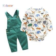 Noworodek chłopiec dziewczyna ubrania Romper z długim rękawem wiosna Cartoon body dla dzieci + spodnie na szelkach strój zestaw dla dzieci śliczne pajacyki dziecięce