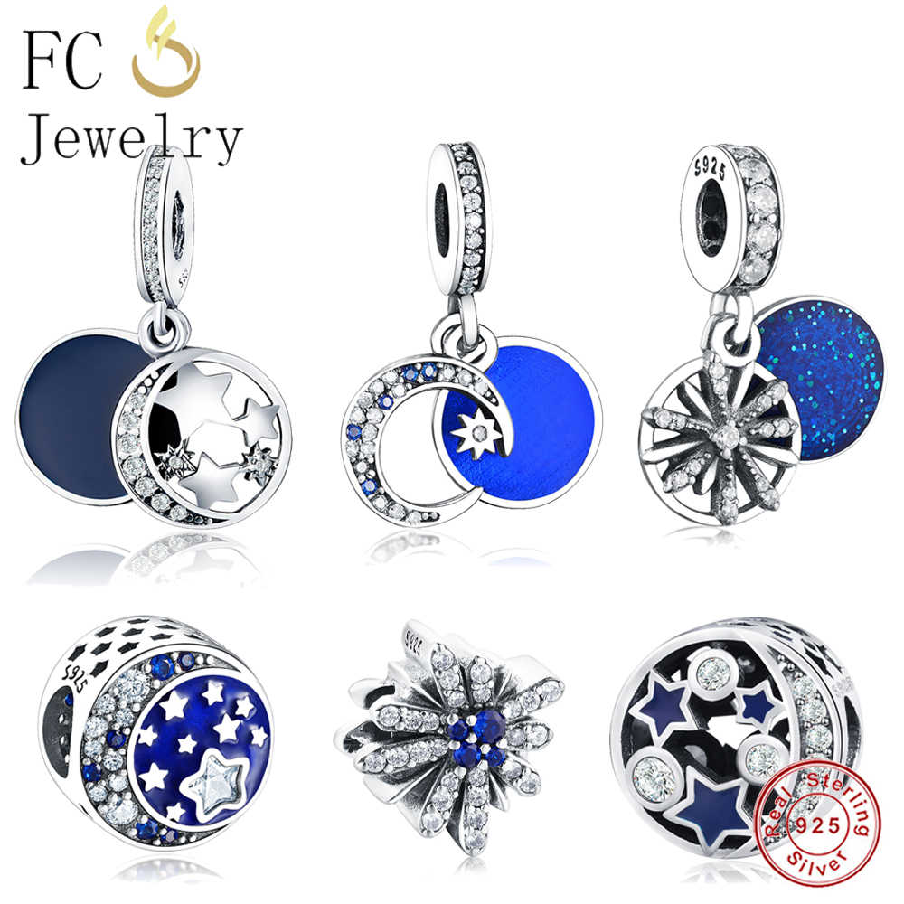 de11b44fb Real 925 Sterling Silver MOON STAR Dazzling Wishes Dangle Blue Mixed Stones  Fit Original Pandora Charms