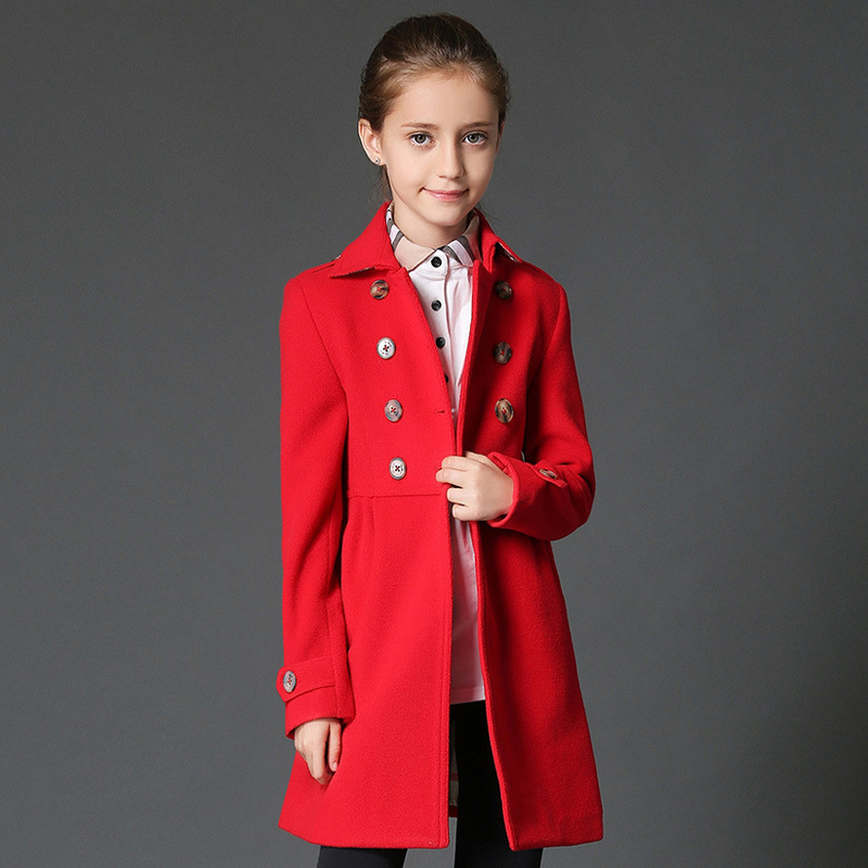 New Style Fashion Spring 2017 Solid Slim Sweet Girls Trench Coat Jacket Outwear Casual Windproof Girls Clothing Jacket Coat OT72 tangnest men formal coat 2018 high quality business casual style men jacket new solid slim long black jacket size m 3xl mwn180