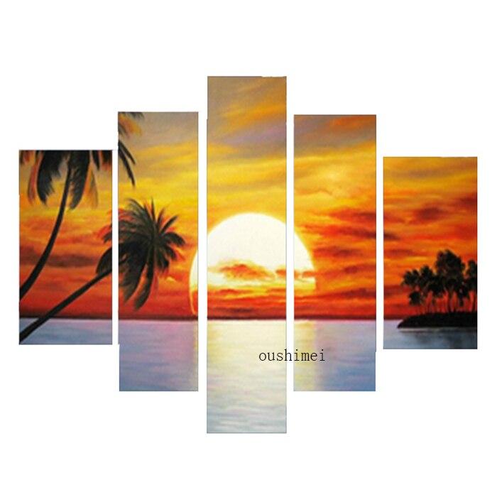 Ручная роспись Современные Аннотация закат пейзаж маслом на холсте морской стены Книги по искусству Домашний Декор Продажа картин